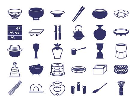 Japanese Pattern Icon Kitchenware, Tea Ceremony