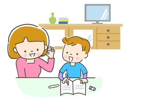 リビングで勉強する子供と見守る母親