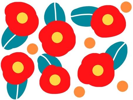 큰 꽃 무늬 일러스트 빨강