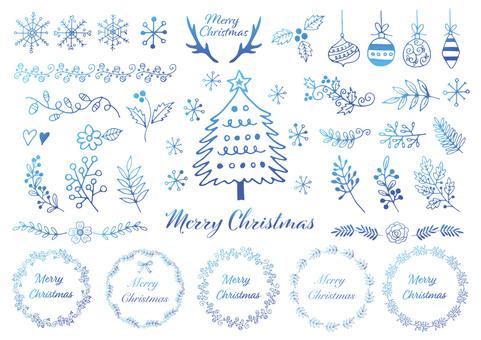 手描きのクリスマス素材背景ブルー