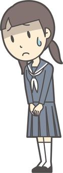 Junior high school sailor woman -055-whole body
