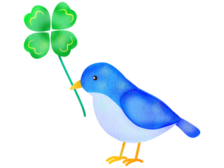 Blue bird with clover