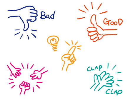 Hand hand sign set