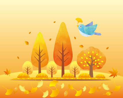 Autumn trees and foliage background