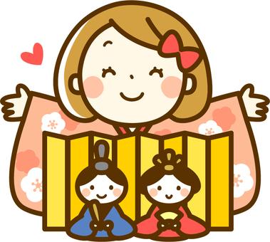 Girls with a hina doll and kimono