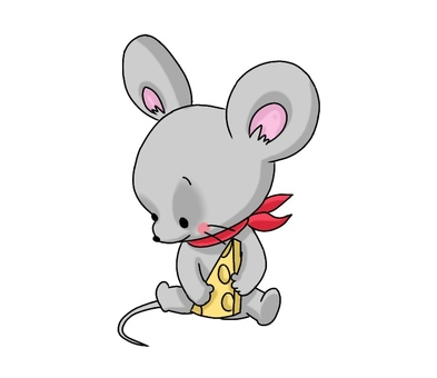 A mouse holding cheese