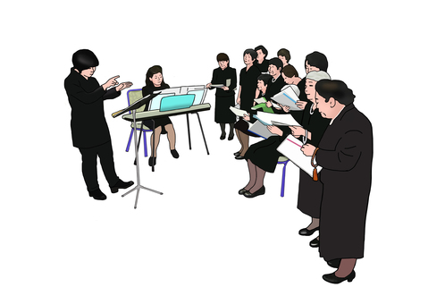 A funeral offering a song to the deceased