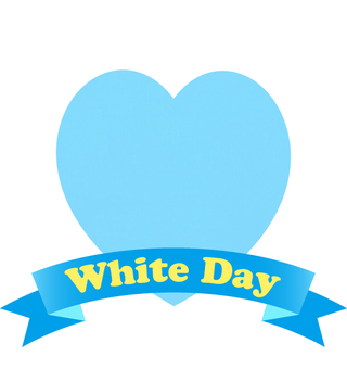 White day heart and ribbon