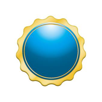 Three-dimensional gold border icon button