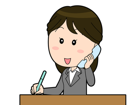 Female office worker in a phone-ready suit-039
