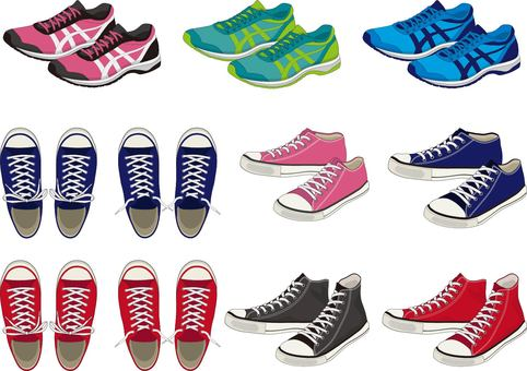 Sneakers shoes set