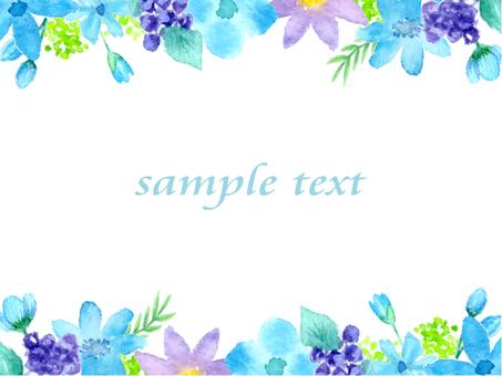 水彩の花 上下フレーム ブルー