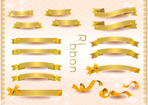 Ribbon frame set (gold)