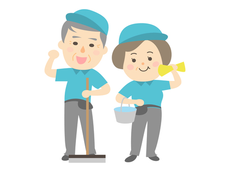 Senior cleaning staff man and woman