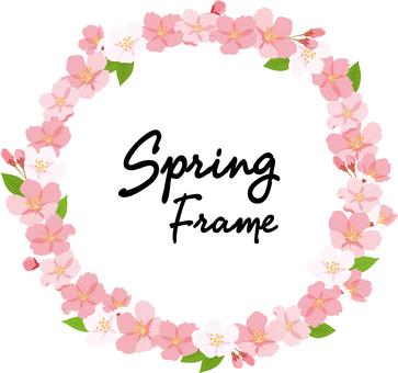 春天櫻桃圓形框架