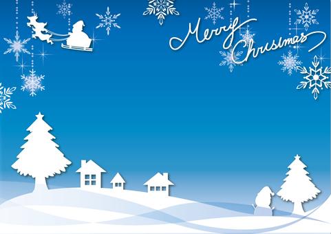 Christmas frame blue