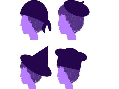 Male silhouette set 2 wearing a hat 2