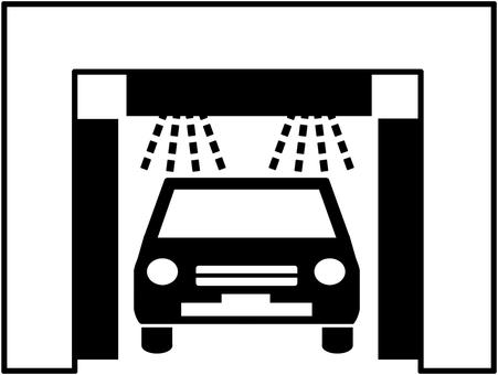 Car wash machine 5 monochrome line drawing