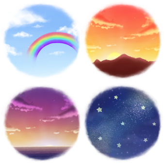 Four skies (morning, noon, evening, night)