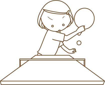Women playing table tennis