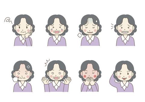 Facial expression of senior women 02