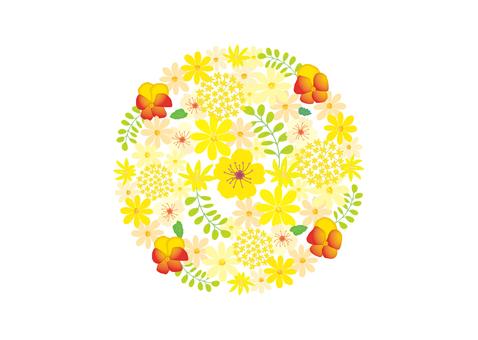 丸いデザイン花 黄色