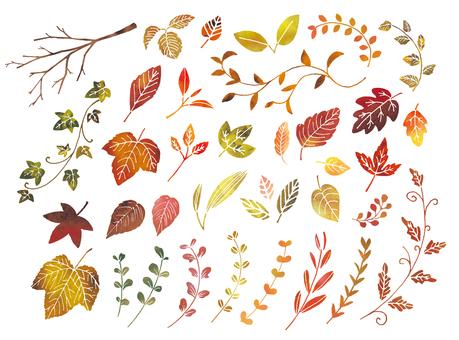 秋の葉水彩セット