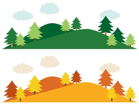 森と山の風景