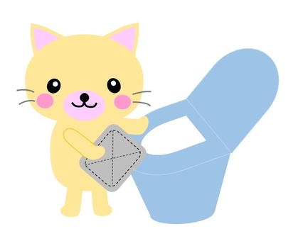 Cat in cleaning the toilet