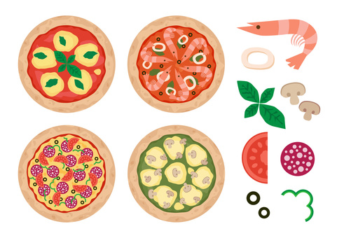 Four kinds of pizza and ingredients set
