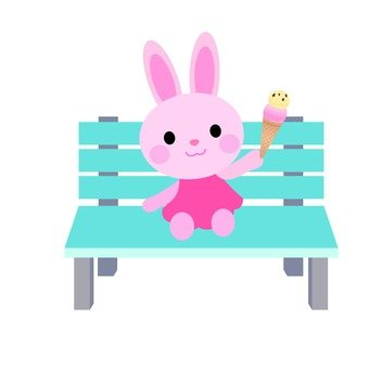 Rabbits sitting on the bench