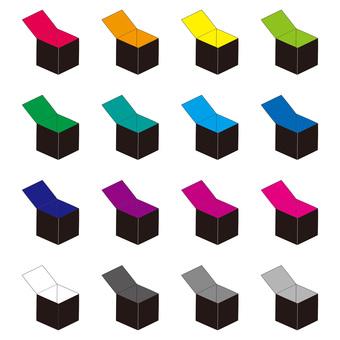 Black empty box color set