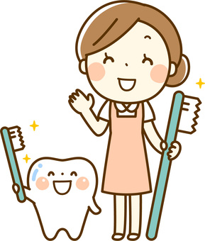 Dental hygienist and tooth character