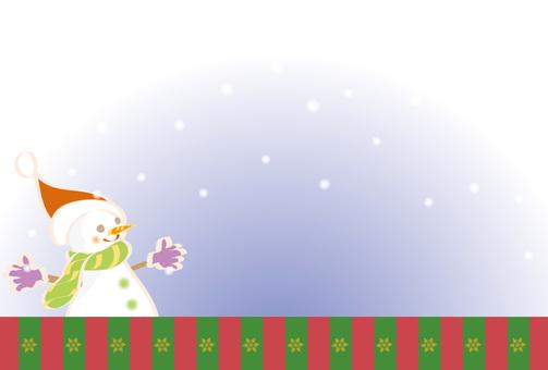Card snowman and snow 02