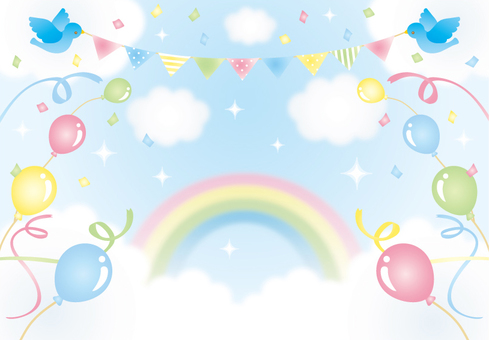 Illustration of sky, rainbow and balloon