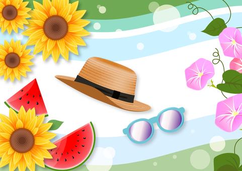 Straw hat and sunglasses summer illustration