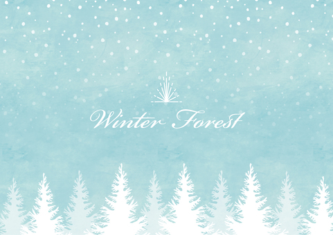 Winter background frame 007 Forest snow watercolor