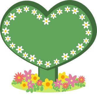 Heart standing signboard green