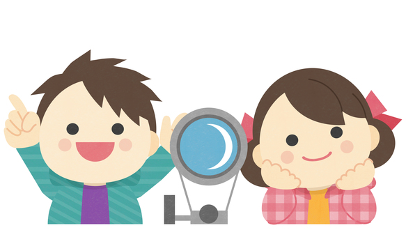 Astronomical observation _ illustration of two children