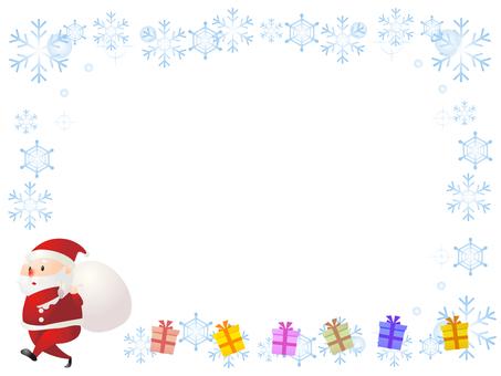 Santa Claus and snowflake decorative frame