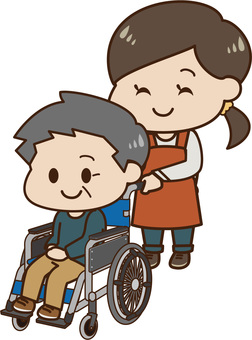 A wheelchair male and a caregiver