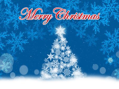 Christmas card 【tree and snow scene】