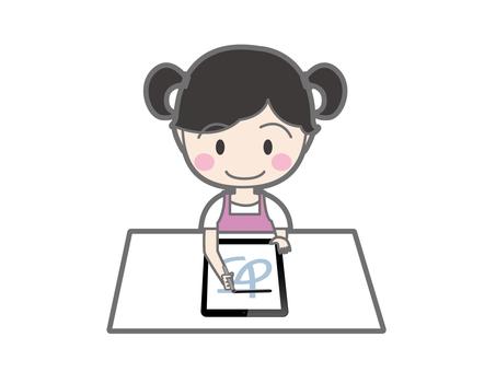 태블릿으로 글씨를 연습하는 소녀