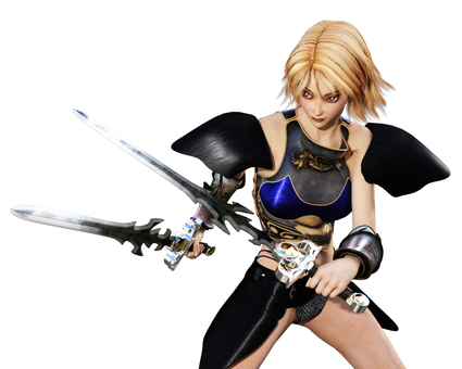 Blonde female swordsman double sword