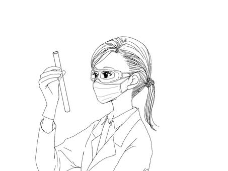 Female_line drawing ④ Scientist