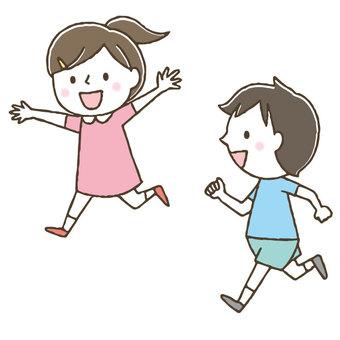 A cute kid who runs well / hand drawn / friends