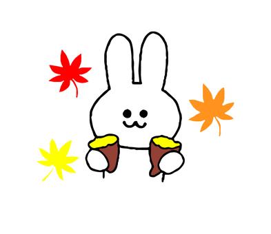 ウサギの食欲の秋(シンプル)