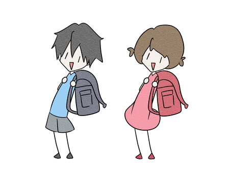 Elementary school boys and girls carrying school bags