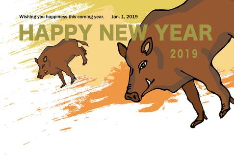 Illustration of a boar of a year year New Year's card