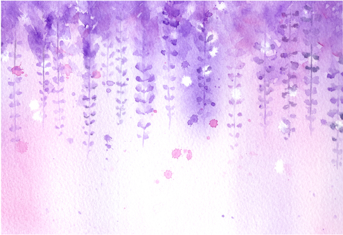 Mysterious wisteria flower drawing with transparent watercolor